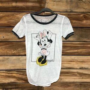 Minnie Mouse burnout white Disney tee shirt